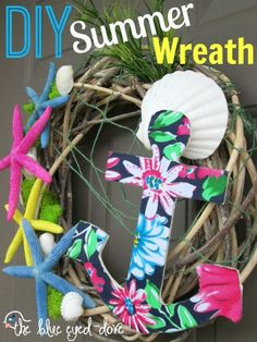 DIY Summer Wreath - add a little color/nautical theme to welcome guests to your home in the summer time! theblueeyeddove.com