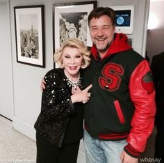 Joan Rivers backstage with Russell Crowe
