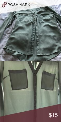 Express Green Portofino Shirt. S. Like New Worn twice and hand washed. Size S. Mint Green Express Tops Button Down Shirts