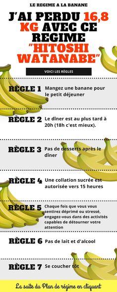 Le Morning Banana Diet, comprenez « régime de la banane à prendre le matin » a été créé par Sumiko Watanabe, pharmacienne à Osaka, pour son mari Hitoshi Watanabe. Il a perdu 16,8 kg en utilisant la méthodologie de ce régime alimentaire. Comme indiqué dans le titre, l'ingrédient principal de ce régime est la banane. La prémisse du programme est le suivant : manger des bananes... #régime #perdredupoids #trucs #astuces #trucsetastuces #maigrir #maigrirsansstress #banane #taillefine