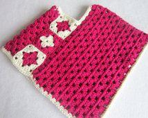 Crochet Girls Poncho Fuschia, Handmade Dark Rose Girls Poncho, Granny Square Poncho, Cream and Hot Pink Poncho, Size 3 to 5 Toddler