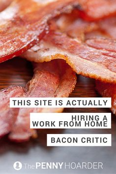 This new website is searching for a bacon critic. Yes, you'll get paid to write about bacon. Oh, and you'll get to work from home, too. - The Penny Hoarder  http://www.thepennyhoarder.com/get-paid-to-write-bacon-critic/