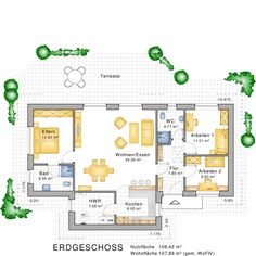 bungalow grundriss mit einem atrium haus einrichtung pinterest bungalow bauen bungalow. Black Bedroom Furniture Sets. Home Design Ideas