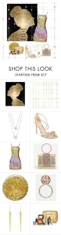 """Gold Glam"" by lsmom ❤ liked on Polyvore featuring Oliver Gal Artist Co., Tempaper, Michael Kors, Badgley Mischka, Burberry, Mary Katrantzou, Henri Bendel and Estée Lauder"