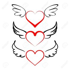 Heart with wings collection cartoon vector illustration