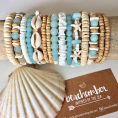 beach jewelry cultured sea glass bracelet shell by beachcombershop - Joias / Jewelry Sea Jewelry, Seashell Jewelry, Cute Jewelry, Glass Jewelry, Beaded Jewelry, Jewellery, Glass Beads, Jewelry Accessories, Bracelet Crafts