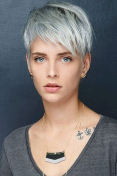 Icy Short Pixie Cut - 60 Cute Short Pixie Haircuts – Femininity and Practicality - The Trending Hairstyle Lilac Grey Hair, Grey Curly Hair, Long Gray Hair, Grey Wig, Ash Grey, Brown Hair, White Hair, Blonde Hair, Short Hair With Layers