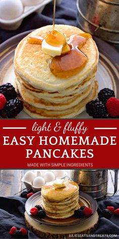 Time to say goodbye to the pancake mix! Your family is going to flip over these Easy Homemade Pancakes. Using simple ingredients from your pantry, you can have a quick batch of the softest, fluffiest pancakes for breakfast! Don't forget the warm maple syrup on top! Easy Homemade Pancakes, How To Make Pancakes, Breakfast Pancakes, Pancakes And Waffles, Fluffiest Pancakes, Brunch Recipes, Yummy Recipes, Maple Syrup, Pantry