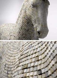 sculpture by Babis made out of recycled keyboard buttons (via Art must be beautiful)