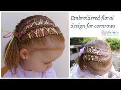 Cornrow headband with embroidered floral design - Gevlochten haarband met geborduurd bloem patroon - YouTube #hair #cute #girls #hairstyles #beauty #tutorial #DIY #braids #braiding #trenzas #peinados #treccia #embroidery #pelo
