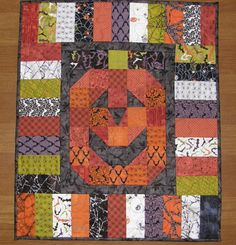 Halloween Quilted Wall Hanging Pumpkin Quit Orange by HollysHutch