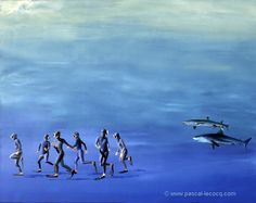"OLYMPIC GAMES 2012, Aug 11th: Athletics men's 5000m  pic: ""COUREURS DE FOND""  - Deep runners - oil on canvas by Pascal Lecocq, The Painter of Blue ®, 24""x29"" 60x73cm, 1993, lec333, private collection Courbevoie, France. © www.pascal-lecocq.com."