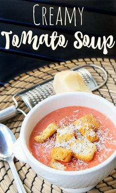 Easy Creamy Tomato Soup recipe using only three ingredients by LivingMiVidaLoca.com //  #MeGustaConLeche #AD
