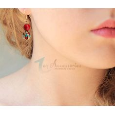Delicate and dainty- coral and tuquoise gem stone earrings http://www.ananasa.com/ze003-dangle-earrings.html