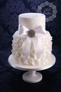 Elegant, double barrel wedding cake, designed to the wedding dress. www.artcakes.sk