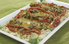 COCONUT CURRY CHICKEN ON RICE: ~ You'll think of Thailand—or your favorite Thai restaurant—when you try this distinctive recipe.