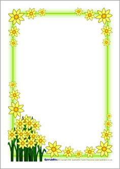 Wales - St David's Day March - daffodil page borders Page Borders Free, Page Borders Design, Page Boarders, Boarders And Frames, Frame Border Design, Boarder Designs, Printable Border, Printable Labels, Daffodil Day