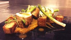 Gareth Wharton @ChefGarthWarton  Coronation chicken ballontine, spiced butternut, potato, leek, coriander.  MAR/APR