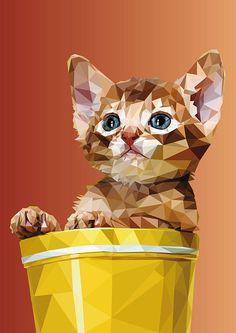 Cat in Pot Prints Geometric Drawing, Geometric Art, Art And Illustration, Kitten Drawing, Lion Painting, Polygon Art, Cubism Art, Cat Art, Collage Art