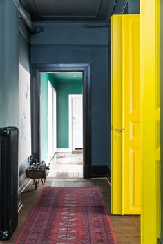 Blue walls and yellow doors!