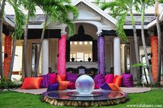 Pillows and pallets provide a place for guests to get comfortable at the sangeet.