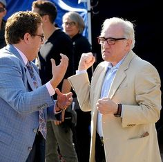 Jonah Hill and Martin Scorsese on the set of The Wolf of Wall Street