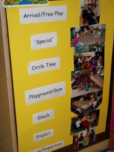 "Visual Daily Schedule- Help the children ""tell time"" each day to make the transition to school easier for them!"