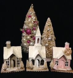 3 Glitter Houses Vintage Inspired Putz House by ThePokeyPoodle