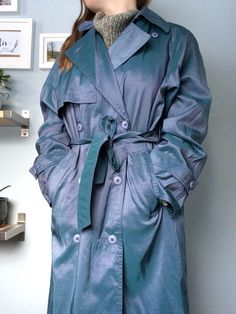 Teal-Blue-Green Iridescent Trench Coat size 7/8 by Lollinna