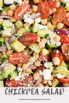 Simple and easy to make and so fresh and delicious, this chickpea salad is perfect to serve as a side or as a hearty vegetarian main. Great Salad Recipes, Summer Salad Recipes, Salad Recipes For Dinner, Dinner Salads, Healthy Salad Recipes, Summer Salads, Veggie Recipes, Vegetarian Recipes, Delicious Recipes