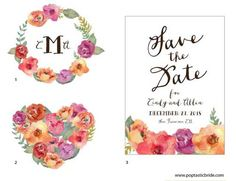 DIY Wedding Design Resources: Watercolor Flowers   a Free Printable