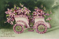 15322 Präge Kitsch AK Blumenauto 1907 PC car flowers | eBay