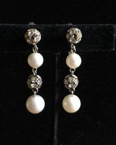 Vintage Art Deco Clear Rhinestone Rondelle Earrings, White Faux Pearl and Rondelle Dangles, Wedding Earrings, Spring Summer Clipons