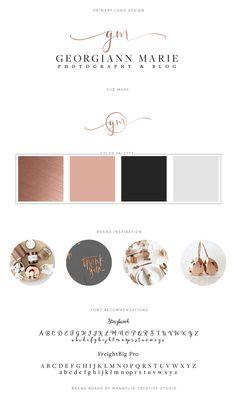 Georgiann Marie Photogaphy Branding Board - Photographer Logo, Branding, Feminine Branding, Copper Logo