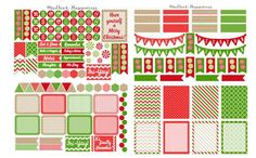 December Peppermint Planner Stickers  ►The December Kit Includes Stickers in varying shapes and designs on 4 sheets.  ►Designed and sized to fit: