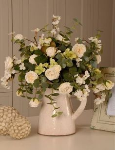 Artificial Roses and Eucalyptus. A jug of gorgeousness. Artificial Floral Arrangements, Artificial Silk Flowers, Artificial Tree, Silk Flower Arrangements, Fake Flowers, Summer Flowers, Flower Designs, Flower Ideas, My Perfect Wedding