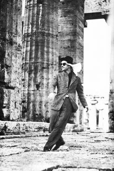 Montgomery Clift at Paestum, an old Greek colony south of Naples.  Photographed by Kevin McCarthy, 1950.