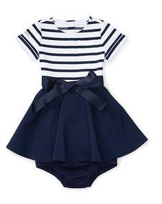 Striped Ponte Dress & Bloomer - Dresses & Rompers BABY GIRL (0-24 months) - RalphLauren.com