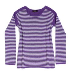 Scollo ampio seymour   Loro Piana, $1575, purple (narcissus)/light grey (sirio), Scollo Ampio Seymour Cashmere Coarsehair®  Roundneck sweater in cashmere Coarsehair® with a stripe pattern. Cut like a tunic with a slightly flared line