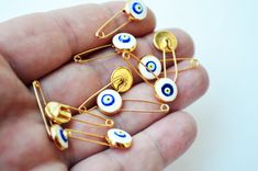 5 Pcs Evil Eye Pins White Evil Eye With Pin by PrettyTurkishThings