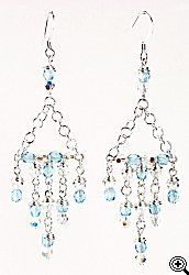 Jewelry Making Idea: Aqua and Silver Drop Earrings (eebeads.com)