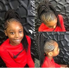 25 Catchy Cornrow Braids Hairstyles Ideas to rock in 2019 Box Braids Hairstyles, Lil Girl Hairstyles, Black Kids Hairstyles, Braided Ponytail Hairstyles, My Hairstyle, African Hairstyles, Cornrow Ponytail, Simple Hairstyles, Braid Hair
