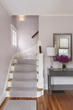 Lavender. A soft, barely there shade of this color is gorgeous and looks best with a crisp white trim. I love mixing lavender with robin's egg blue or gray. These lavender-kissed walls are perfect in Benjamin Moore's Organdy 1248.