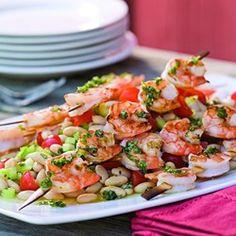 Grilled Shrimp Skewers over White Bean Salad  - EatingWell.com