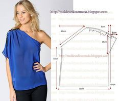 blusa azul 1 ombro