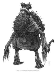 Not in English, but I knew this guy was a Slavic beastie just by looking. Is it small, rugged, and made of a creepy forest? It's probably Slavic. This is a leshy, a creature that could change size and played pranks on humans in the woods.