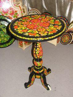 Table, Petrakivka style, by Shevchenko, Ukraine, from Iryna with love