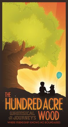 And for those of you feeling nostalgic, head to the Hundred Acre Wood for a little R & R. | 19 Gorgeous Retro Travel Posters To Fantasy Destinations