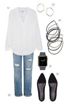 street style inspired: white shirt, distressed jeans, stacking bracelets, and the apple watch // click for outfit details