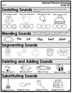 Phonemic Awareness Assessment FREEBIE - Everything About Kindergarten Phonemic Awareness Kindergarten, Kindergarten Assessment, Phonemic Awareness Activities, Phonics Activities, Kindergarten Writing, Reading Activities, Literacy, Phonics Reading, Teaching Reading